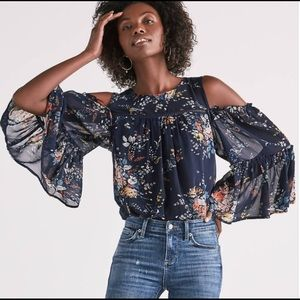 Lucky Brand Printed Cold Shoulder Top XL Blue